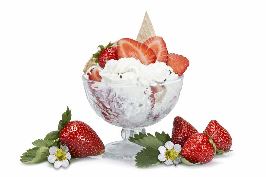 Gałkowe lody waniliowe z owocami